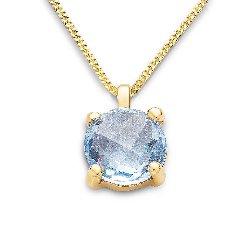 Miore Damen-Anhänger Damen-Halskette 9 Karat ( 375 ) Gelbgold Topaz Stein 2.5 ct. Quarz blau Rundschliff - MNA9055N