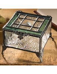 J. Devlin Glass Art Box 354 Green Vintage Stained Glass Jewelry Keepsake Box By J Devlin Glass Art