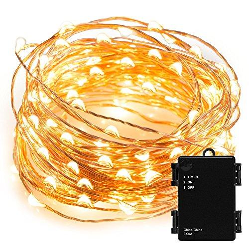 Kohree-draht-Lichterkette-10m100-LED-Schnur-Licht-bateriebetrieben-mit-Timer-IndoorOutdoor-fr-Festival-warmes-Wei