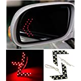 Cdycam 2 Pcs 14 SMD LED Red Arrow Panel Car Side Rear View Mirror Indicator Turn Signal Light