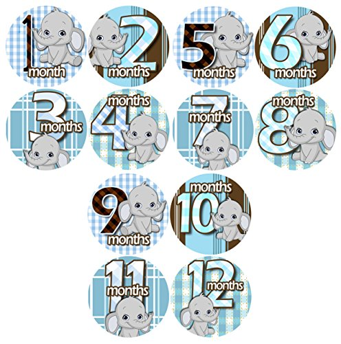 GREY BABY BLUE GRAY ELEPHANTS Baby Month By Month Stickers - Baby Month Onesie Stickers Baby Shower Gift Photo Shower Stickers