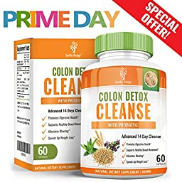 Colon Detox Cleanse, Super 14 Day Body Cleansing Pills for Weight Loss, Best Pure Natural Laxatives to Relieve Gas, Bloating & Constipation, Supports Digestion & Total Intestinal Health, 60 Capsules