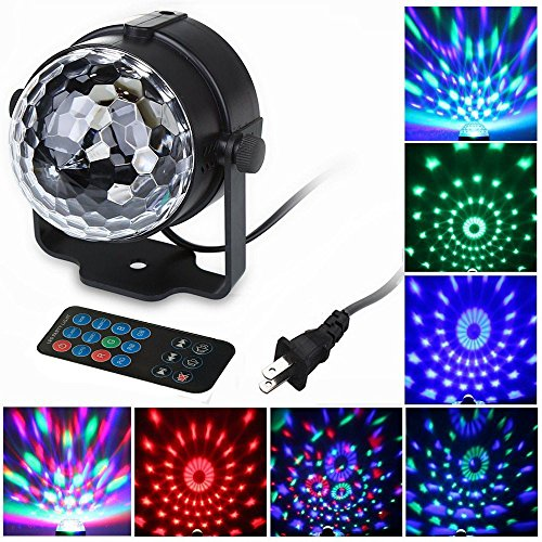 FeelGlad® 7 Color Changing 6W RGB Sound Activated Crystal Magic Rotating Ball Effect Led Stage Lights For KTV Xmas Party Wedding Show Club Pub Disco DJ Laser Lighting Show (with control)