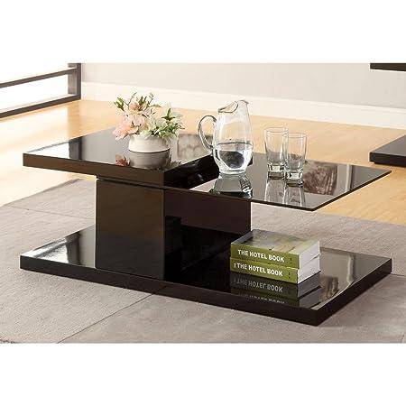 Furniture of America Stallion Swivel Glass Top Coffee Table