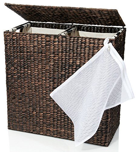 Designer wicker laundry hamper with divided interior and laundry basket bags e - Laundry hamper divided ...