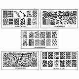 Bundle Monster 5pc Polynesian Themed Nail Art Design Rectangular XL Stamping Plates-Land of Aloha