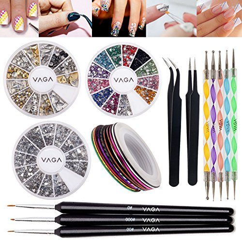 Set-of-Nail-Art-Accessories-With-3D-Silver-And-Golden-Metal-Studs-In-12-Shapes-Silver-And-Colorful-Crystals-5-Dotters-Striping-Tapes-Anti-Static-Tweezers-Straight-Curved-And-Brushes-By-VAGA