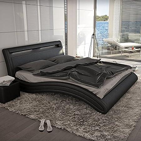 Innocent Polsterbett Kunstleder mit LED-Beleuchtung Misani schwarz, 140x200 cm