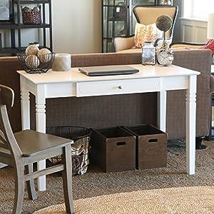 We Furniture Elegant Solid Wood Desk White Kitchen Home