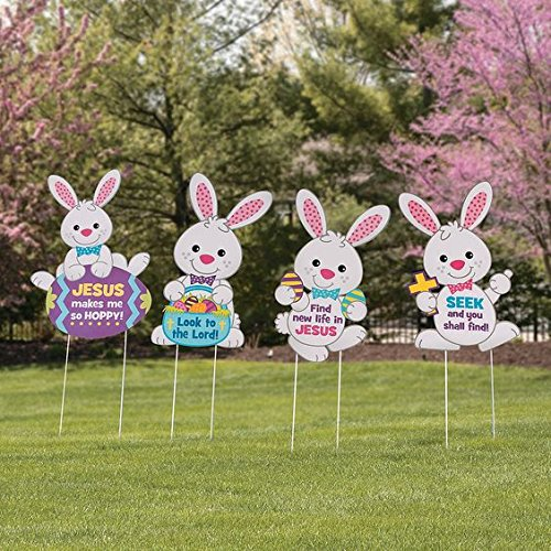 Set of 4 religious easter bunny rabbits whimsical spring for Spring yard decorations
