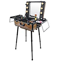 SHANY Studio To Go Makeup Case with Light Pro Makeup Station, Cheetah on The Loose