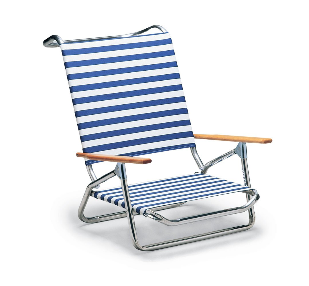 Telescope Casual Light and Easy Low Boy Folding Beach Arm Chair Blue White S