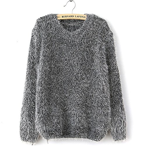 Womens Trendy Crewneck Loose Warm Soft Sweater Pullover Tops (Gray)