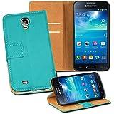 OneFlow PREMIUM - Book-Style Case im Portemonnaie Design mit Stand-Funktion - für Samsung Galaxy S4 (GT-i9500 / GT-i9505 LTE) - TÜRKIS