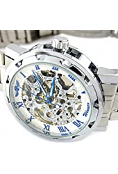 YouYouPifa Skeleton Dial Stainless Steel Strap Hand-Wind Mechanical Men's Watch (White & Blue)
