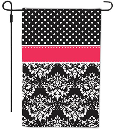 """Rikki Knighttm Rikki Knight Initial """"Z"""" Pink Black Damask Dots Monogrammed Design Decorative House Or Garden Flag 12 X 18 Inch Full Bleed (Proudly Made In The Usa) front-600219"""