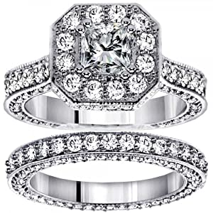 5.14 CT TW Princess Cut Designer Engagement Bridal Set in 14k White Gold - Size 6