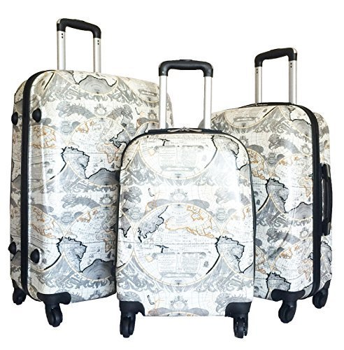 3pc-Luggage-Set-Hardside-Rolling-4wheel-Spinner-Upright-Carryon-Travel-Poly-Globe