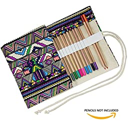 Born to Accessorize Canvas Rollup Pencil Bag (Tribal Art) - 48 Slots for Colored Pencils or Gel Pens
