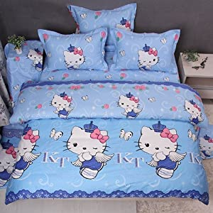 DIAIDI,Hello Kitty Bedding Set,Hello Kitty Duvet Cover Sets,Blue Bedding,Twin Queen King,4Pcs (QUEEN)