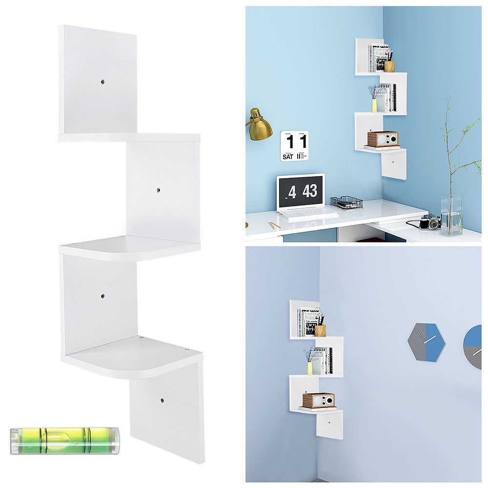 Yescom 3 Tiers Zig Zag Floating Wall Mount Corner Shelf Wooden Display Shelves Storage Organizer with Gradienter White