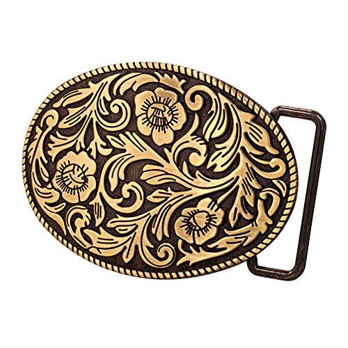 Buckle Rage Adult Womens Ornate Flowers Western Cowgirl Oval Belt Buckle Bronze
