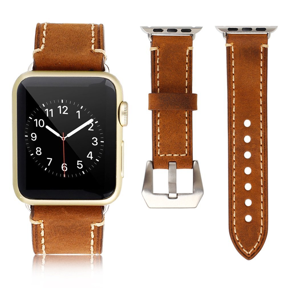 Apple Watch Band, iWatch Leather Wrist Band, Premium Vintage Crazy Horse Leather Watches Band with Secure Metal Clasp Classic Buckle Strap Replacement for Apple Watch 42mm (Dark Brown) 1