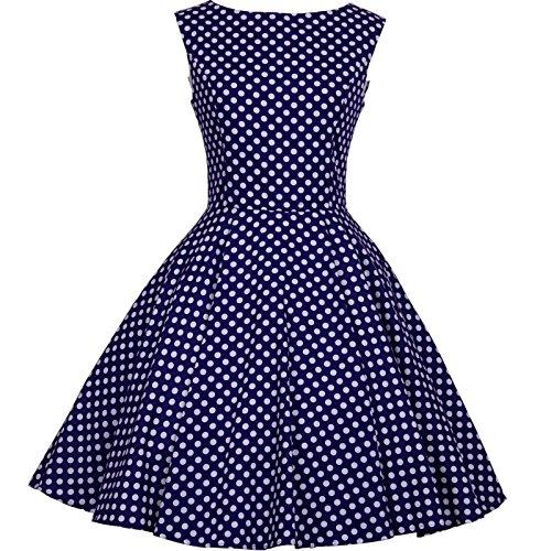 ... 50s Hepburn Style Vintage Dot Swing Dress Size XL Color Navyblue White
