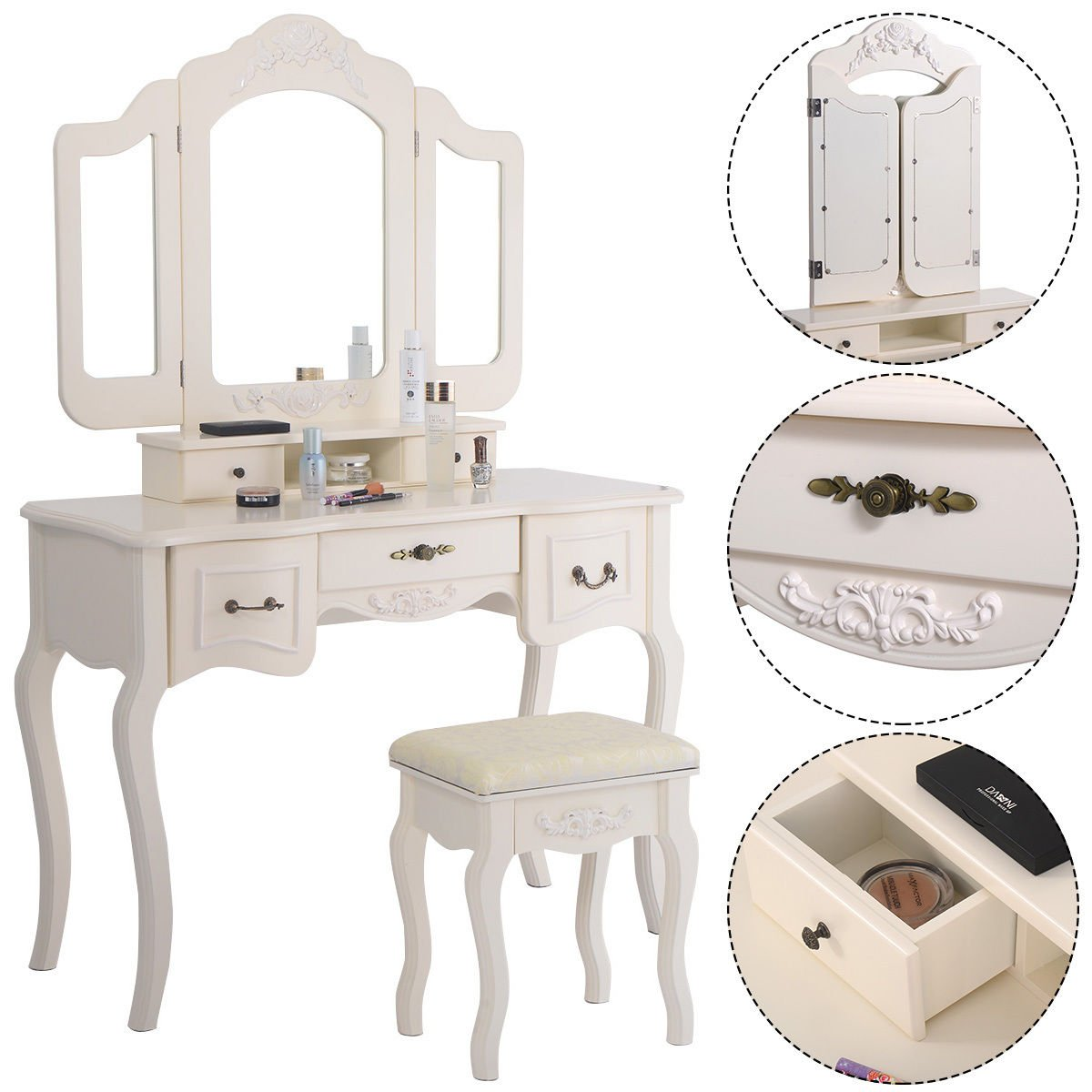 Giantex Tri Folding Vintage White Vanity Makeup Dressing Table Set 5 Drawers &stool 1