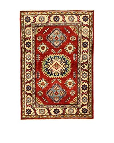 L'Eden del Tappeto Alfombra Uzebekistan Super Rojo / Beige 147t x t100 cm