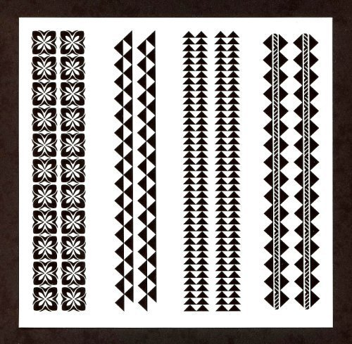 Polynesian Warrior Band Temporary Tattoos / Sheets - 8 Double Bands Total by HI