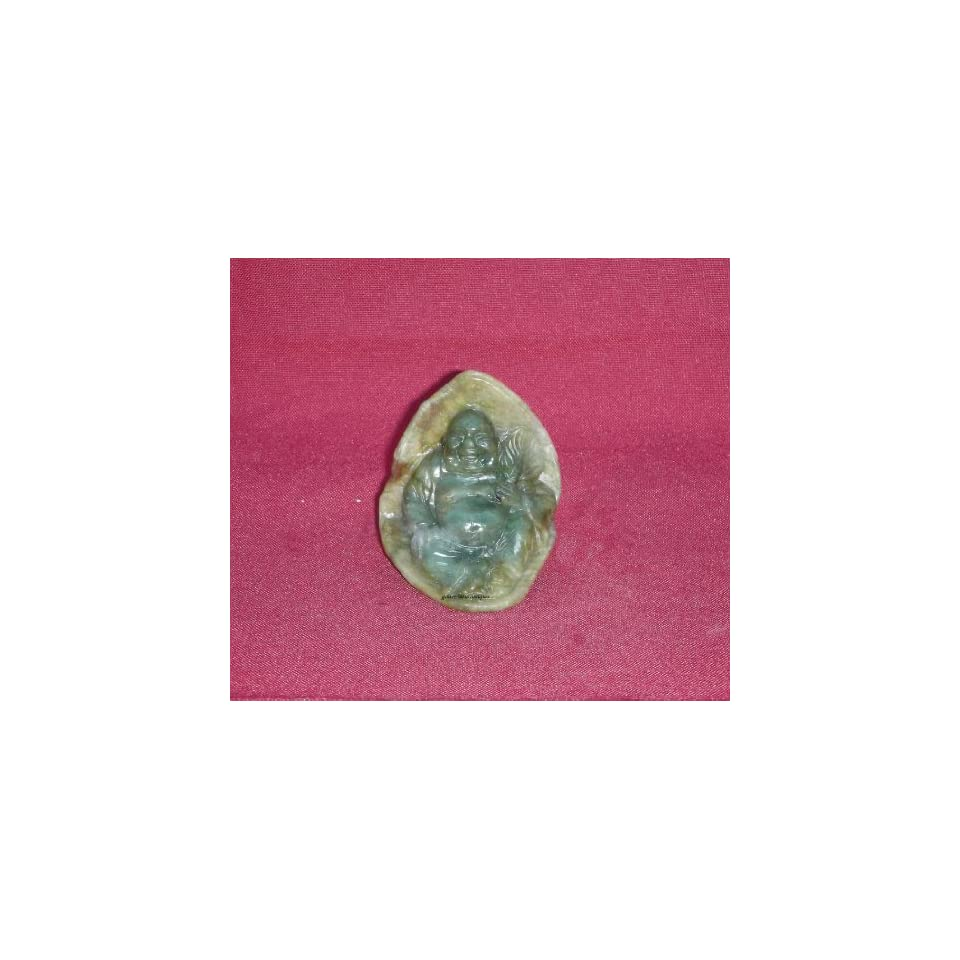 Vintage Green Jade Stone Happy Buddha