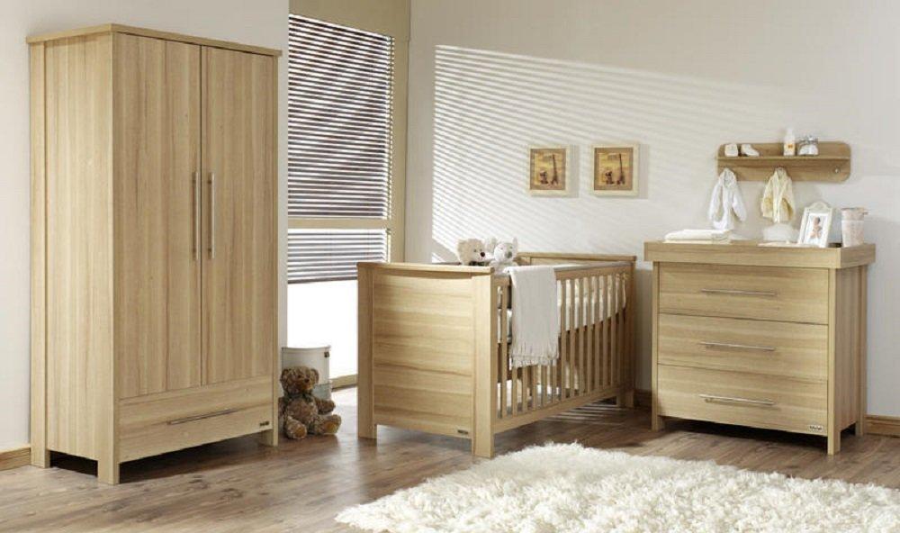 Babyzimmer Set Kinderzimmer RICHMOND, Babymöbel komplett 4-teilig Schrank 2-türig Babybett Wickelkommode Wandregal bestellen