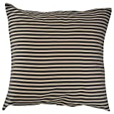 Home Kouture Polyester Single Stripetease Cushion Cover; Black And Gold, 40.64 X 40.64 CM