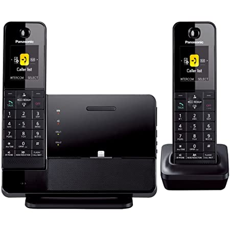 Panasonic KXPRL262B DECT 6.0 1.9 GHz Link2Cell with iPhone5 Integration, Answering Machine, and 2 Handsets,