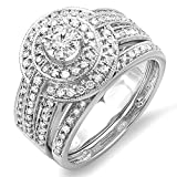 1.10 Carat (ctw) 14K White Gold Diamond Engagement Halo Bridal Engagement Ring Set