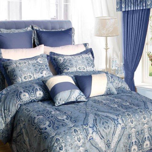 Tribeca Living Atlantis 12-Piece Cotton Bed In A Bag With Deep Pocket Sheet Set, Cal King, Paisley