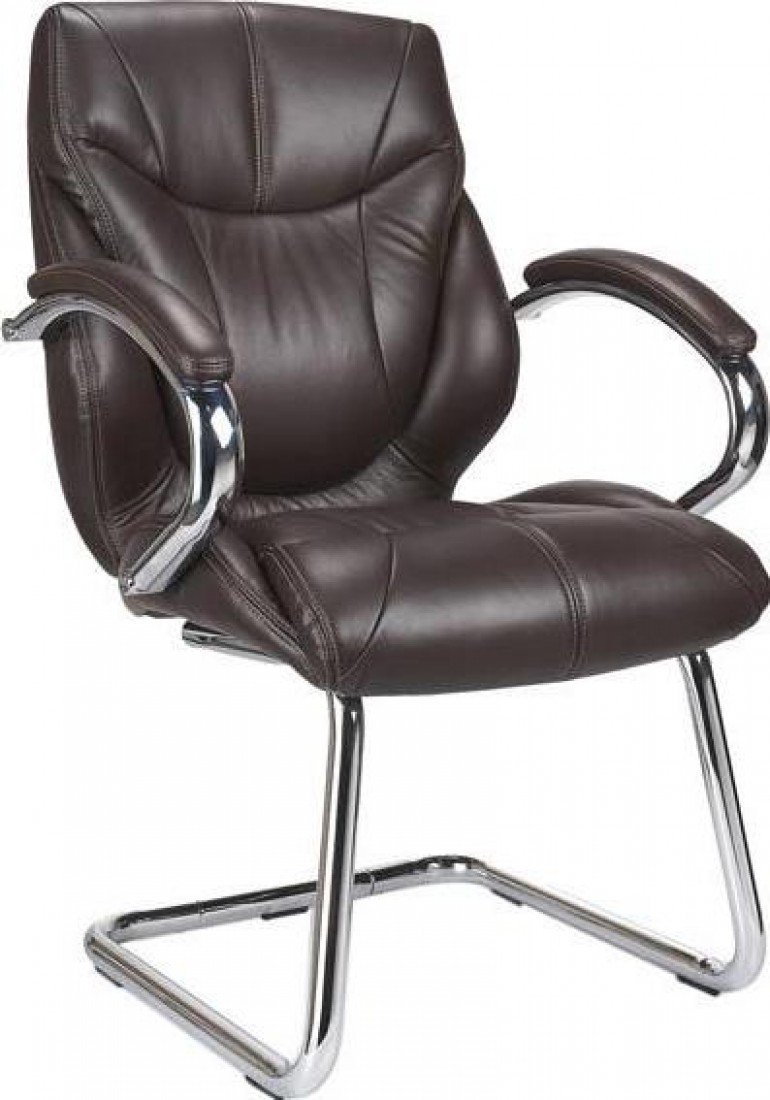 Eliza Tinsley 617AV/BW Chrome Cantilever Framed Luxurious Leather Visitors Armchair   Brown       Office ProductsCustomer review and more description