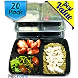 [20 Pack] 39 Oz. 3 Compartment Meal Prep Containers BPA Free & FDA Certified Food Grade 3 Compartment Food Containers Portion Control & Stackable Bento Box Lunch Box Food Storage 3 Compartment