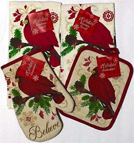 Christmas Cardinal Bird Believe Red Dish Towels Pot Holder Oven Mitt Set, 4Pc.