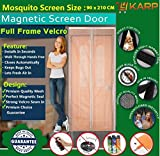KARP Premium Quality Magnetic Screen Door Full Frame Velcro - Keep Bugs Out Lets Fresh Air In. No More Mosquitos or Flying Insects - Children and Pet Friendly, Instant Bug Mesh with Top-to-Bottom Seal, Snaps Shut Like Magic for a Hands-Free Bug-Proof Curtain - (4 Foot Length X 7 Foot Height) (Coffee Color), Package weight - 655 Gram
