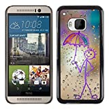 YiPhone Premium Slim Snap Back Case Cover Armor Shell Happy Rain Window Painting HTC One M9