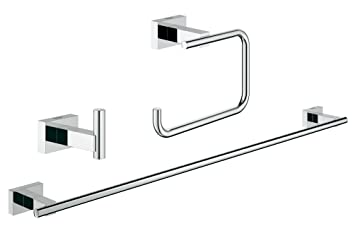 Essentials Cube Guest Bathroom Accessories Set 3-in-1 in GROHE StarLight® Chrome