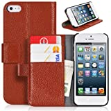 DONZO Wallet Real Structure Case for Apple iPhone 5 5S brown