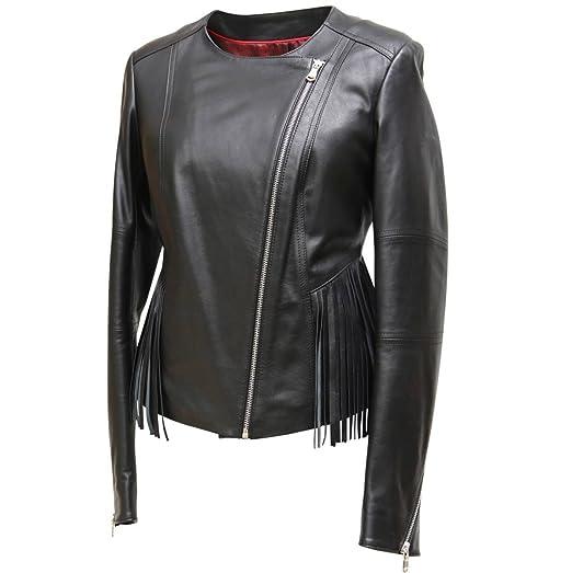 Lederjacke - JURATA Damen Jacke schwarz Lammnappa Echtleder