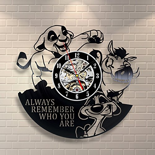 The Lion King Simba Vinyl Record Wall Clock - Decorate your home with Modern Large Disney Art - Gift for kids, girls and boys - Win a prize for a feedback (The Lion King Merchandise compare prices)