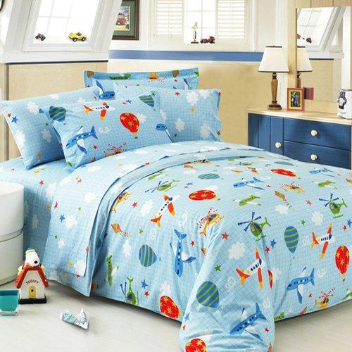 Brandream Kids Plane Helicopter Bedding Set Boys Cartoon Duvet Covers Full Size
