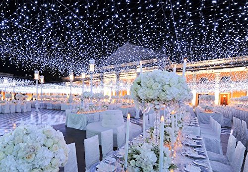 Tesoar® Wedding Party Lights Backdrop 9.8 x 9.8FT (3M x 3M) Pure White 300 LED Fairy Curtain String Lights Decoration for Wedding Party Shows Christmas 110V