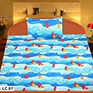 MYCK Single Bed sheet With One Pillow Cover Blue Multicolor