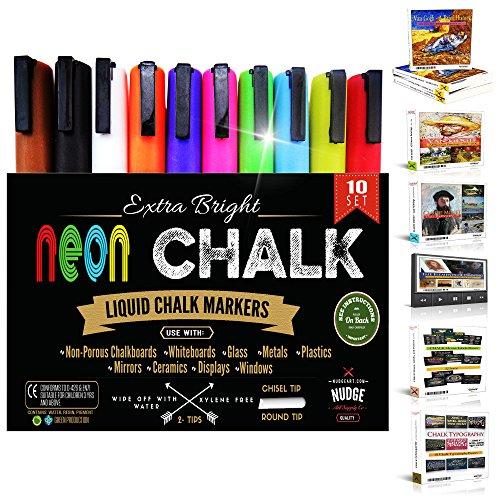 NUDGE Liquid Chalk Markers - 10, 6 mm Marker Pens - Wet Erase (Wet Wipe) - Reversible Tip (Chisel & Round Tip)